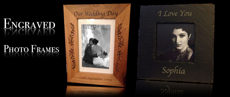 engraved-oak and slate photo-frames