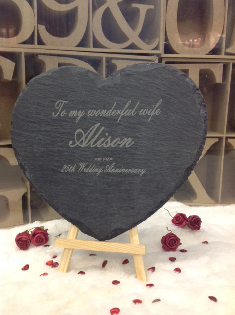 engraved slate heart large