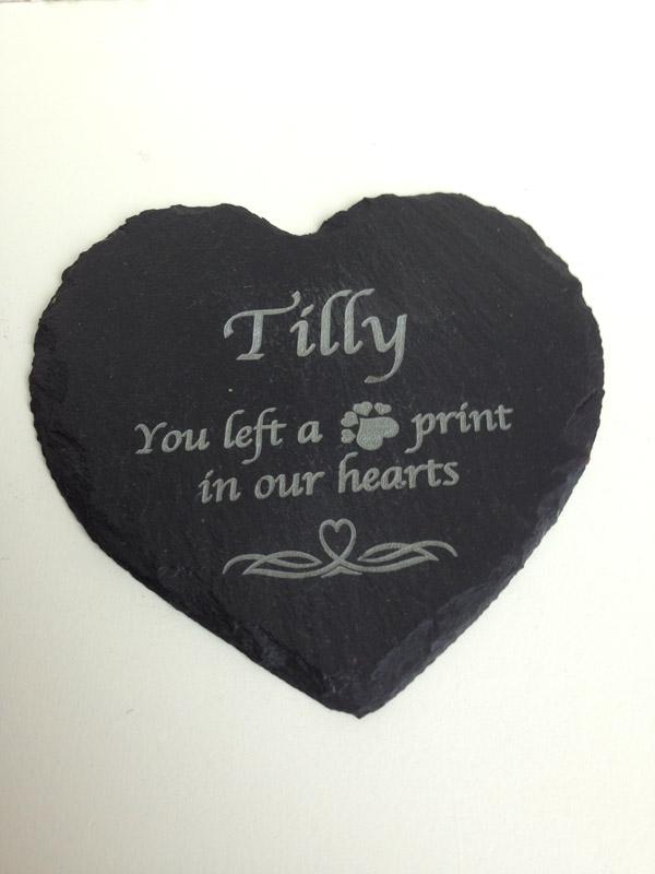 Pet Memorial Slate Heart Personalised Garden Signs