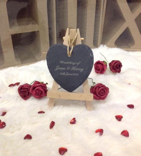 mini slate hearts engraved