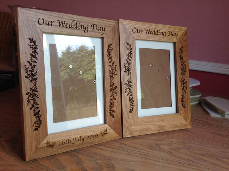 engraved oak photo frame