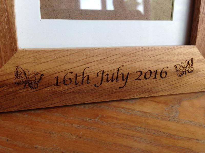 engraved oak photo frames