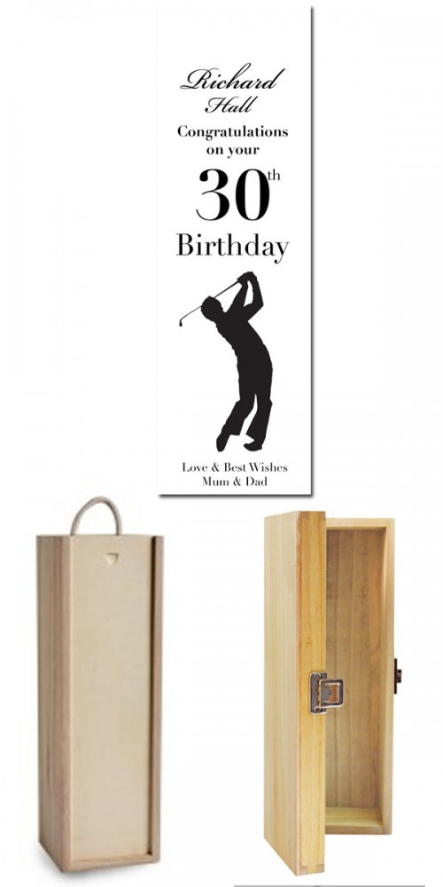 Engraved wooden wine box golf themed personalised for Wooden wine box garden