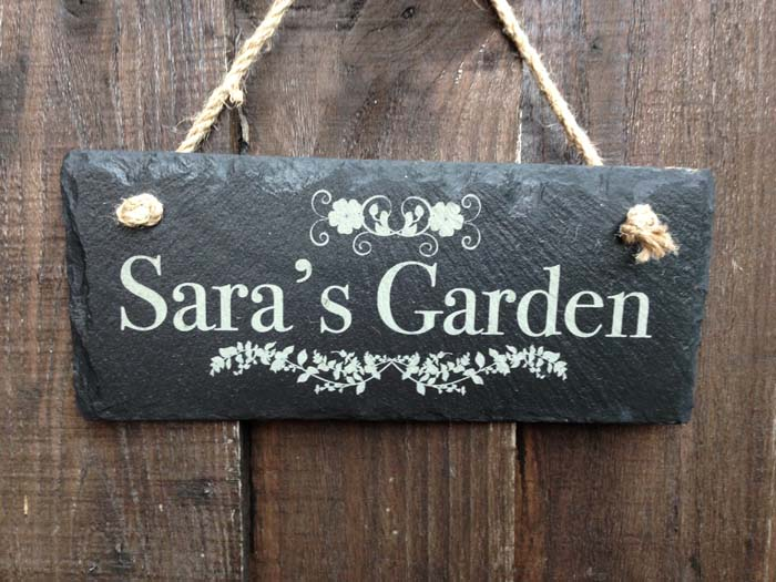 personalised garden signs in slate