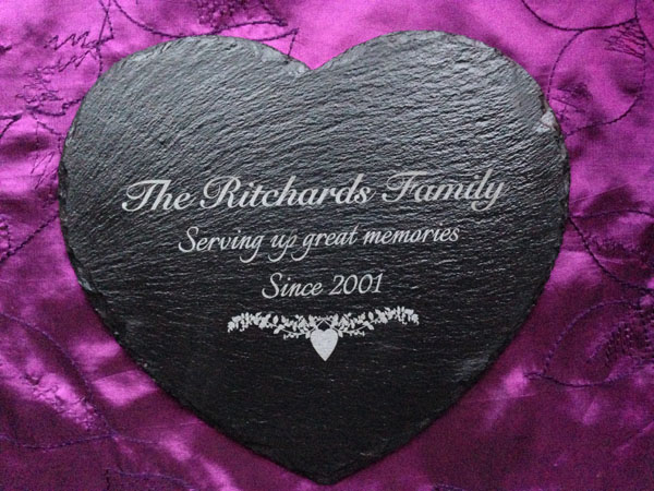 personalised slate heart placemats