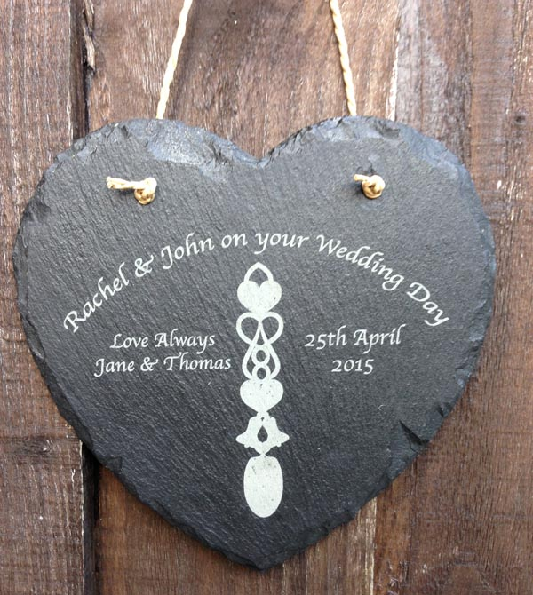 personalised welsh love spoon slate heart