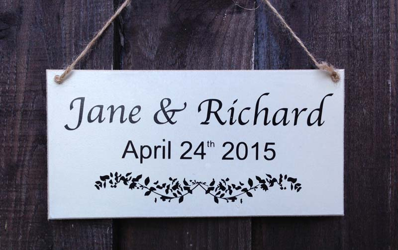personalised wedding sign white