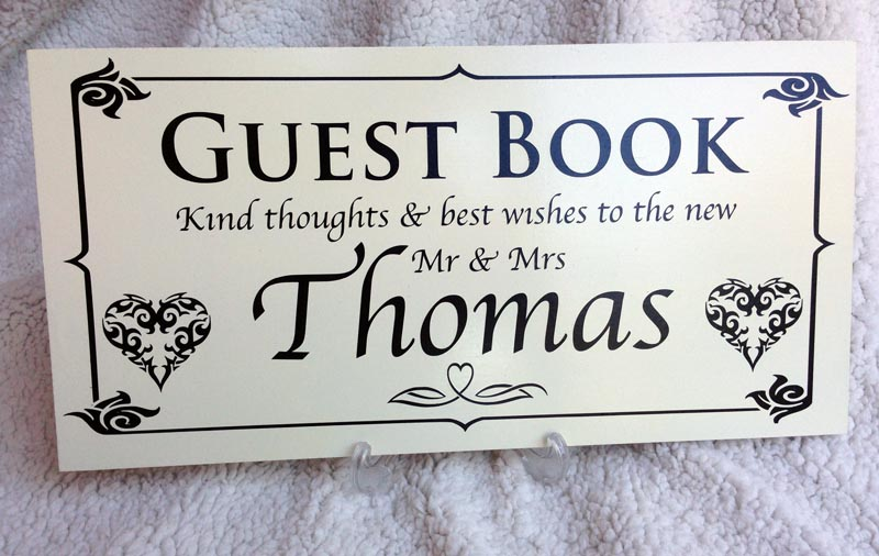 wedding personalised signs guest book large