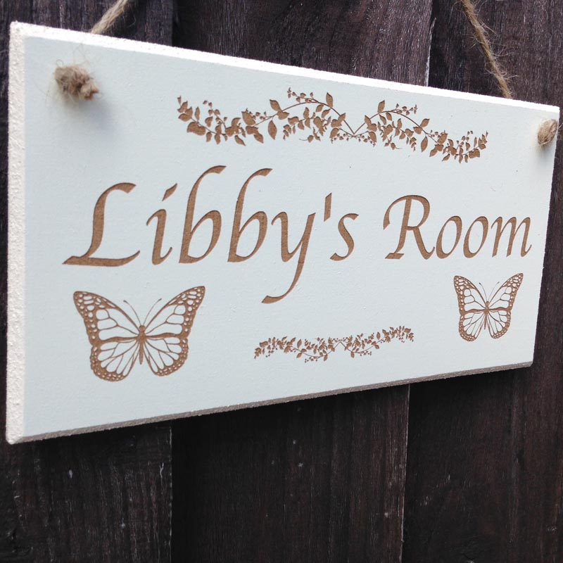 personalised bedroom door sign in cream 2
