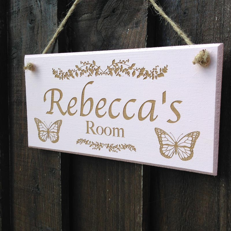 personalised bedroom door sign in pink 2