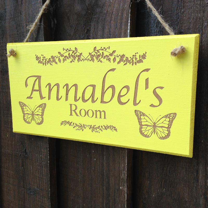personalised bedroom door sign in yellow 2