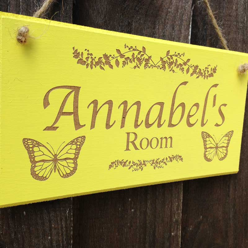personalised bedroom door sign in yellow 3