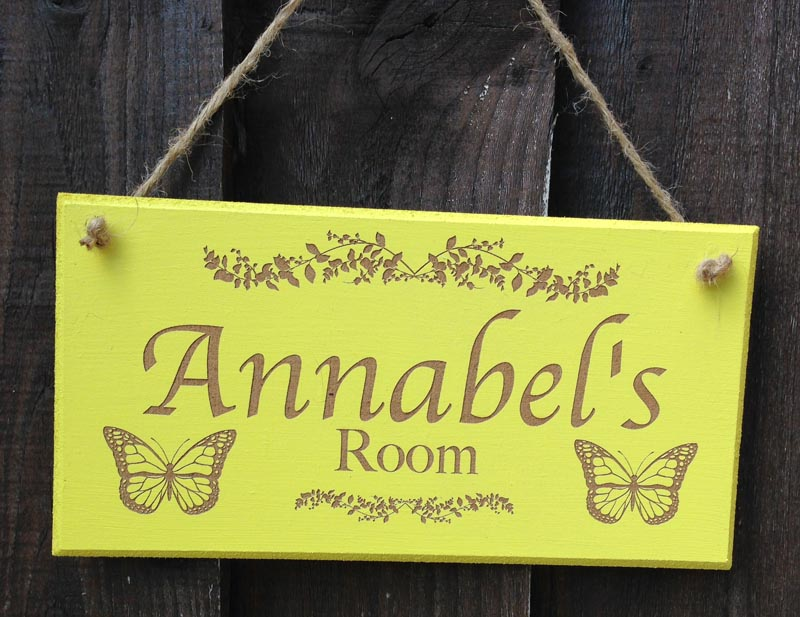 personalised bedroom door sign in yellow