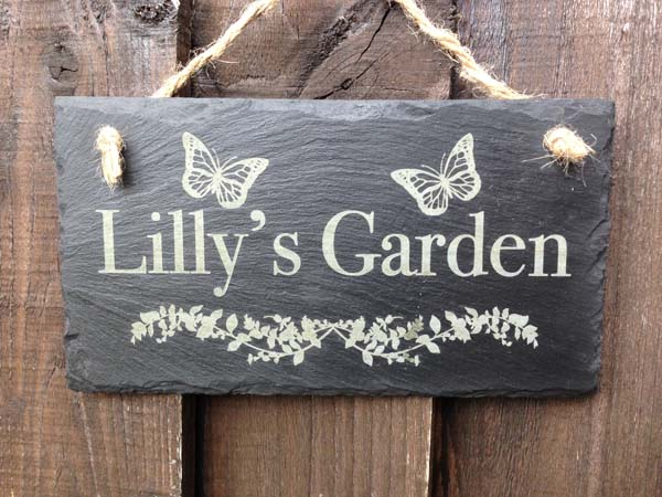 personalised slate garden plaque