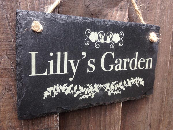 personalised slate garden plaques