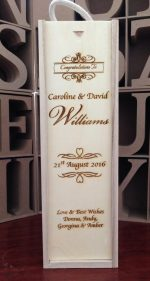 personalised wooden wine box wedding