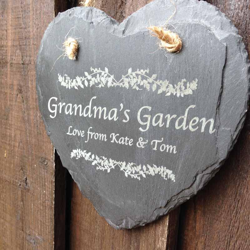 garden sign in slate heart 1