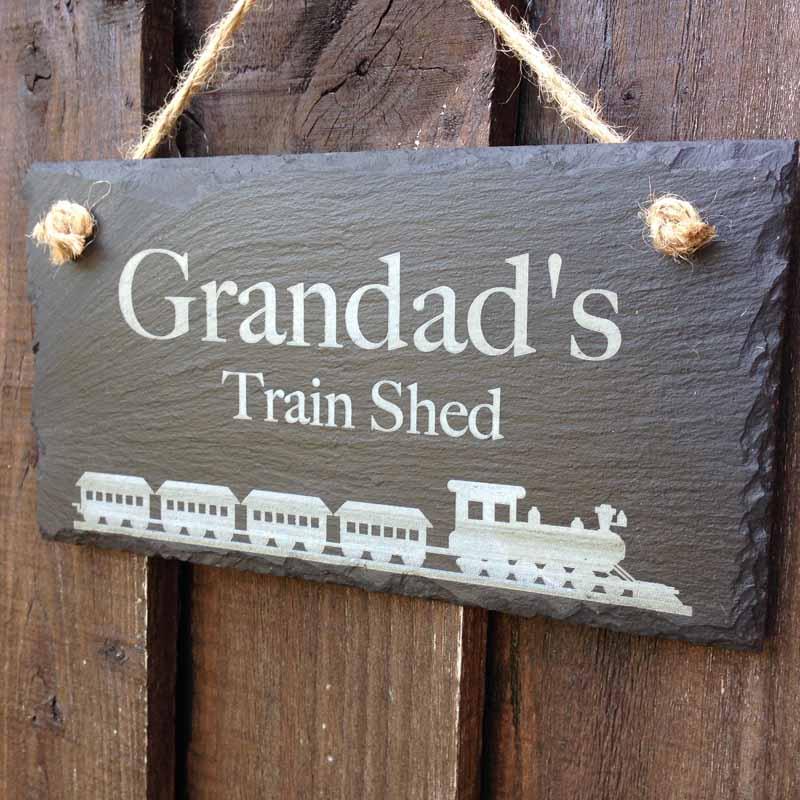 slate garden shed sign train
