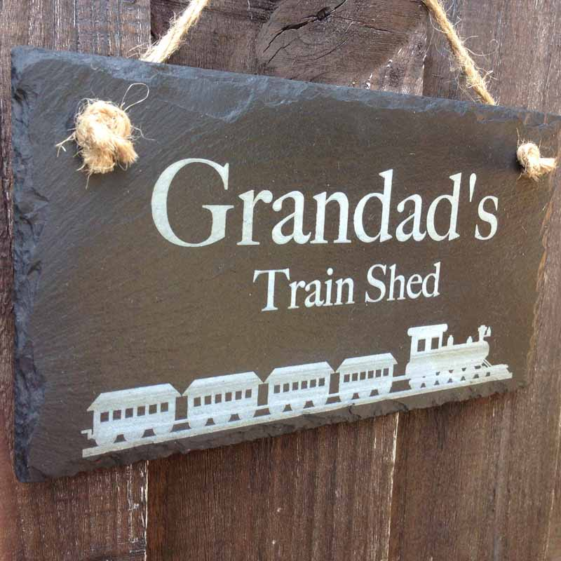 slate garden shed sign with train 2