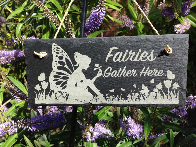 fairy garden sign engraved