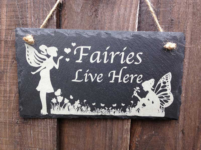 Fairies Live Here Garden Sign In Slate Personalised