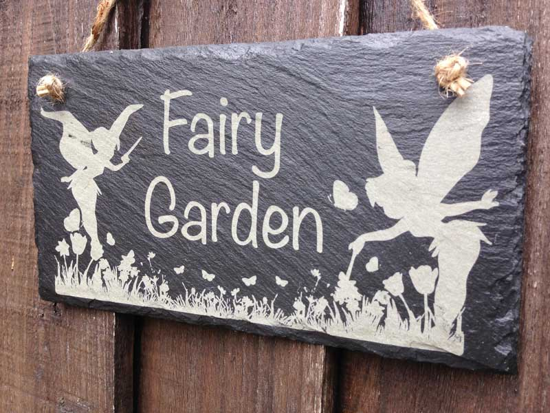 fairy garden sign slate engraved 2