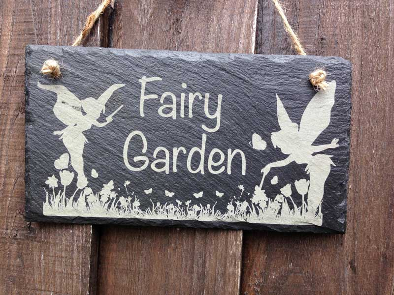 fairy garden sign slate engraved 3