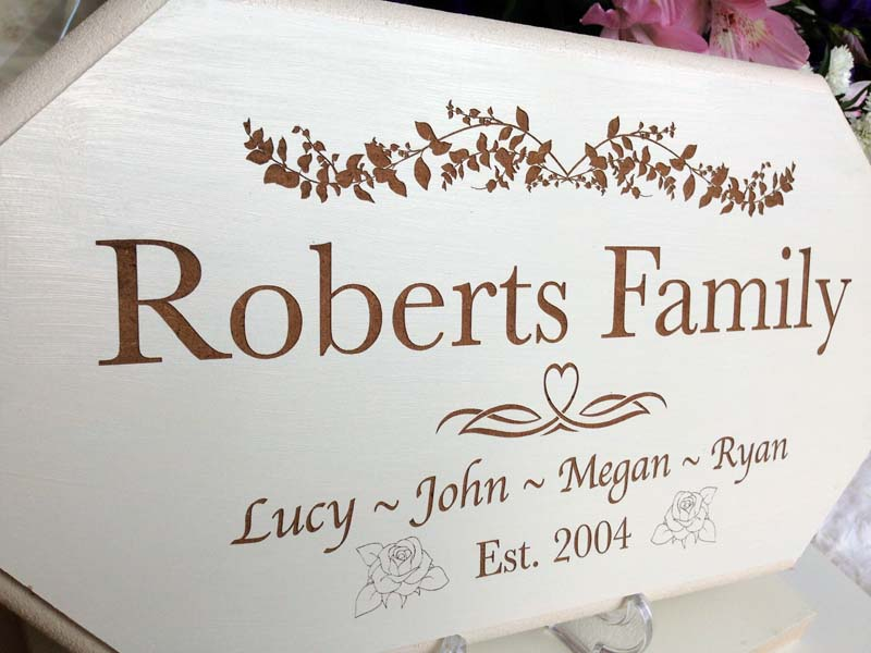 wedding personalised signs family side