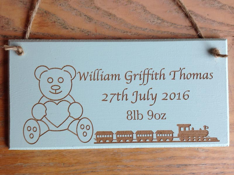 personalised wooden christening signs boy