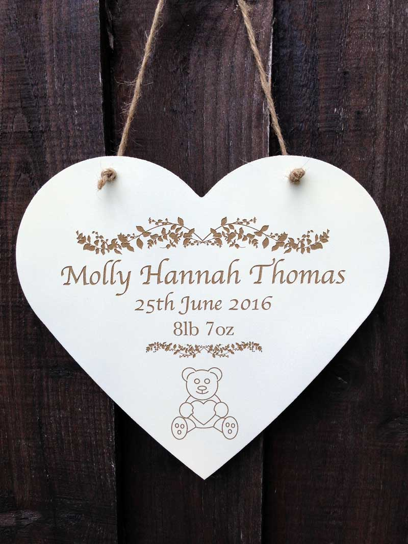 personalised wooden christening signs hearts