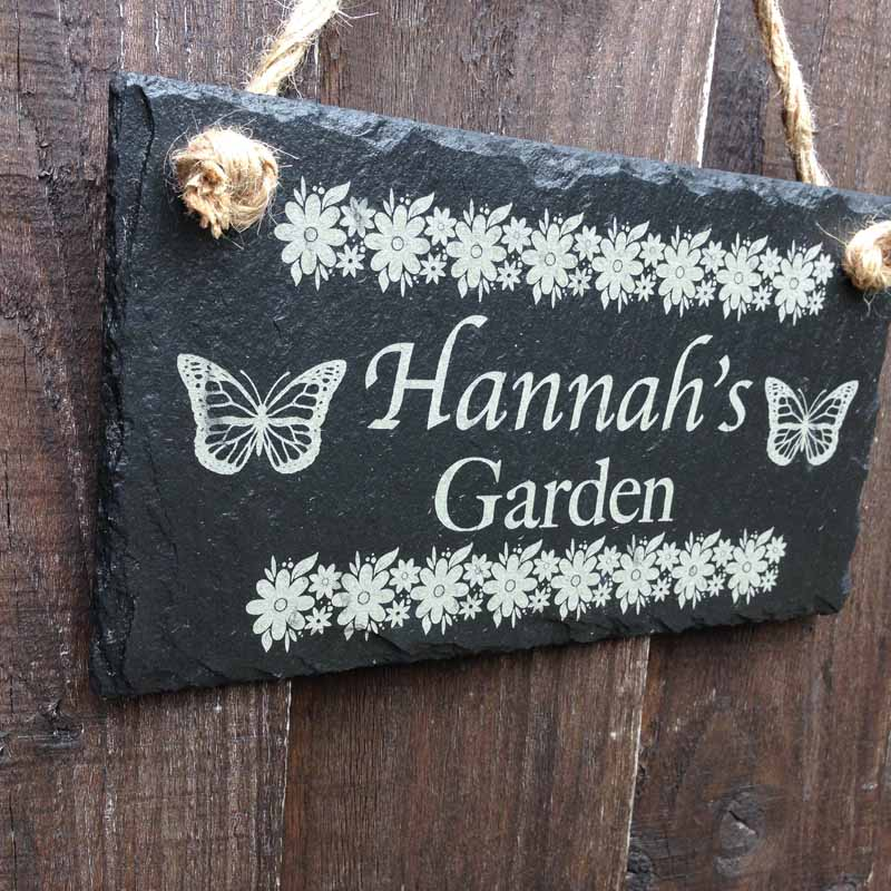 peronalised garden sign in slate w