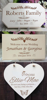 Personalised Wedding & Family Signs