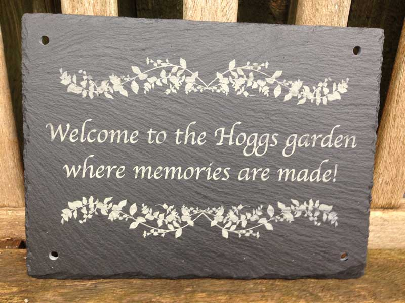 large garden signs in slate 12