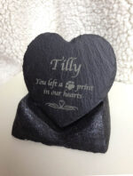 Pet Memorial slate heart on stand