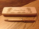 engraved wooden pen and box maple wood