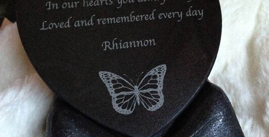 slate heart memorial in granite