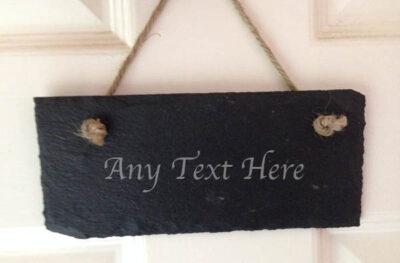 personalised hanging slate bedroom door sign