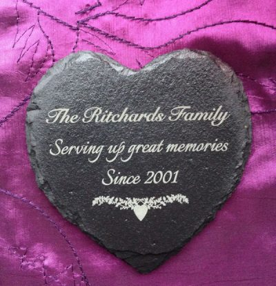 personalised slate heart coaster