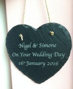 personalised slate wedding heart