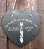 personalised welsh love spoon slate heart