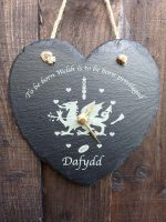 personalised welsh slate heart clock