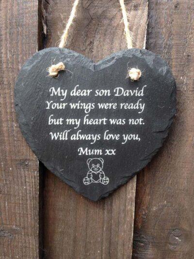 engraved memorial hearts