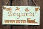 personalised bedroom door sign for boy hanging