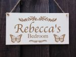 personalised girls bedroom door sign with butterfly