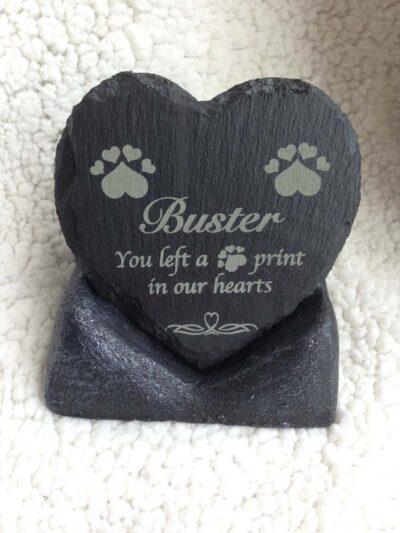 personalised pet memorial in slate