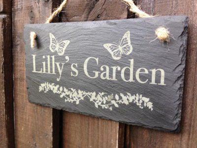 personalised slate garden plaque 01