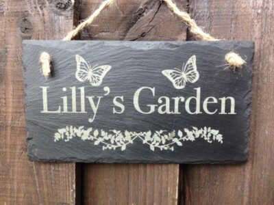 personalised slate garden plaque
