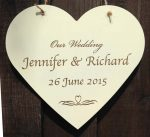 personalised wooden wedding heart sign