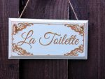 shabby Chic la Toilette sign in blue