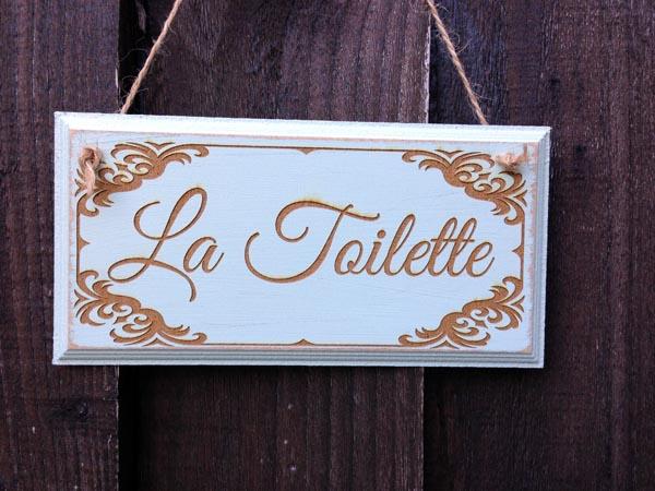 shabby Chic la Toilette sign in blue